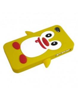 Carcasa protectie spate pinguin din silicon pentru iPhone 4/4S, alba